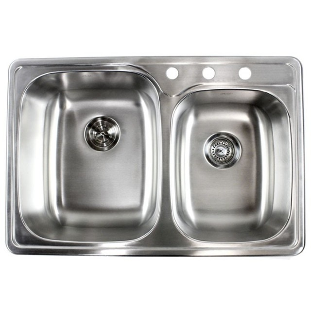33 Inch Stainless Steel Top Mount Drop In 60/40 Double Bowl Kitchen Sink   18  Gauge
