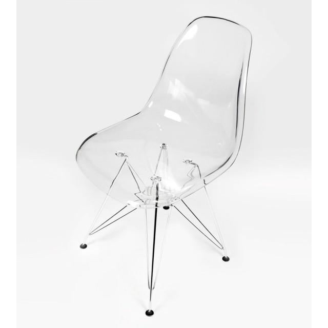 dsr clear acrylic plastic dining shell chair with steel eiffel legs
