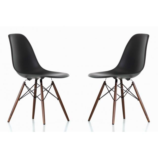 Set Of 2 DSW Molded Black Plastic Dining Shell Chair With Dark Walnut Wood  Eiffel Legs
