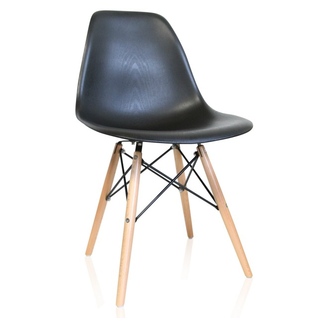 nature series wood grain dsw molded plastic dining side chair with beech wood eiffel legs
