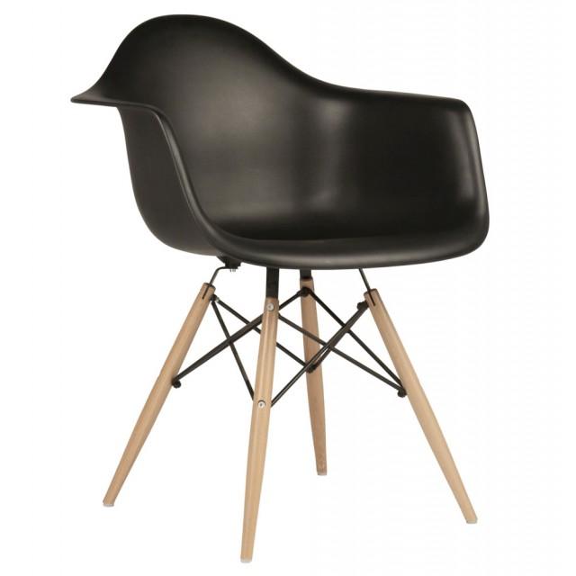 DAW Molded Black Plastic Dining Armchair With Wood Eiffel Legs