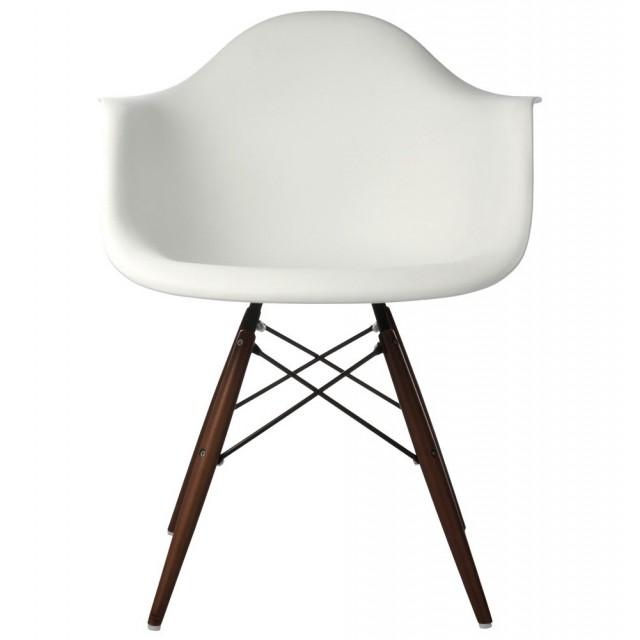 Set Of 4 DAW Molded White Plastic Dining Armchair With Dark Walnut Wood  Eiffel Legs