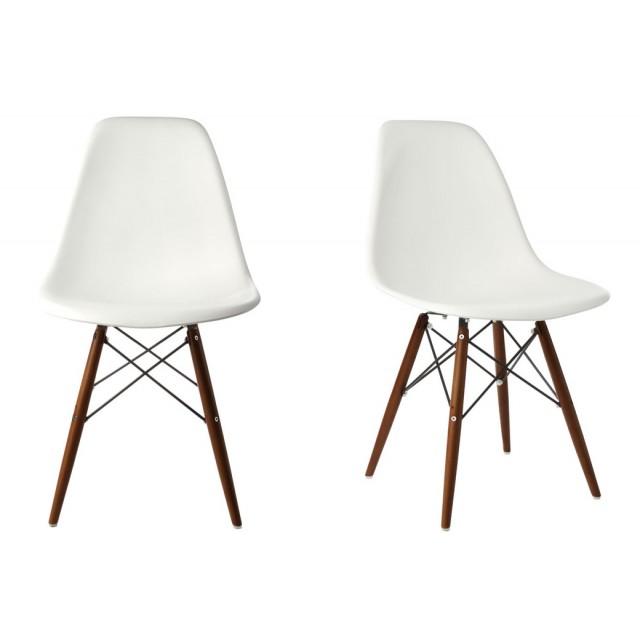 Set Of 2 DSW Molded White Plastic Dining Shell Chair With Dark Walnut Wood  Eiffel Legs