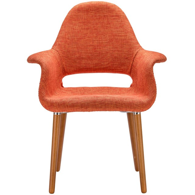 Marvelous Orange Fabric Organic Armchair