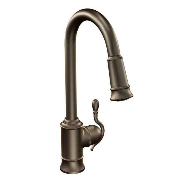 Moen Woodmere Lead Free Single Handle Pull Out Kitchen Faucet