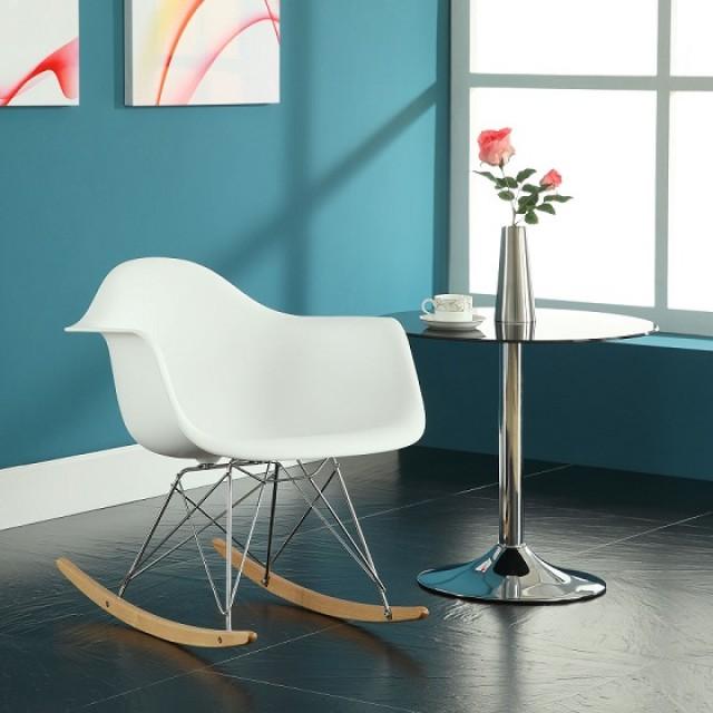 Eames Style RAR Molded White Plastic Rocking Chair With Steel Eiffel Legs