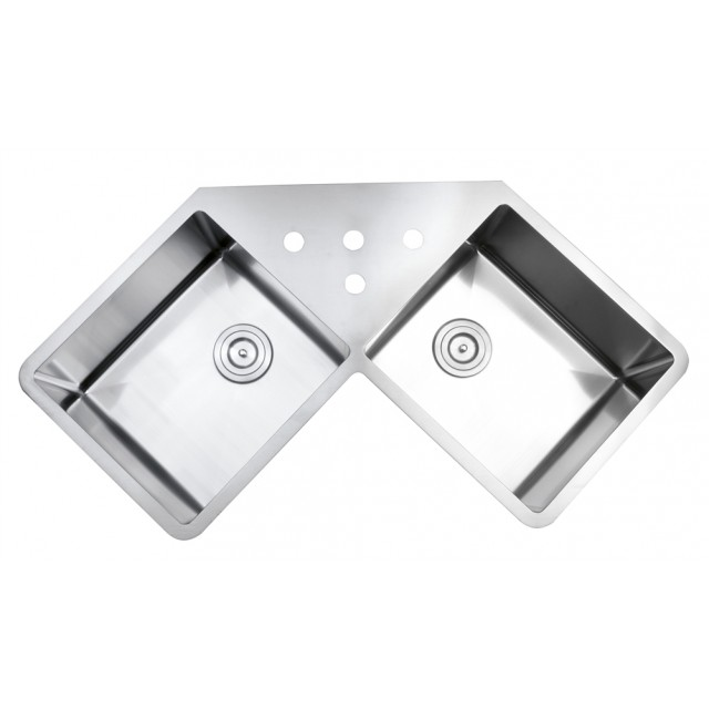 43 inch stainless steel undermount butterly corner double bowl 43 inch stainless steel undermount butterly corner double bowl kitchen sink with free accessories workwithnaturefo