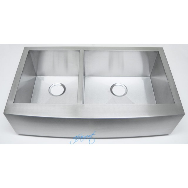 Apron Front Stainless Steel Kitchen Sink : ... Stainless Steel Curved Front Farm Apron 40/60 Double Bowl Kitchen Sink