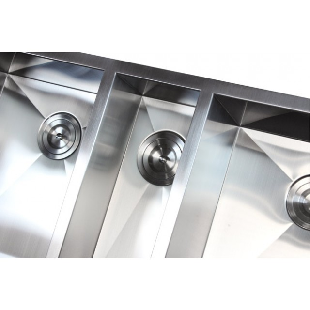 42 Inch 16 Gauge Stainless Steel Undermount Zero Radius Triple Bowl ...