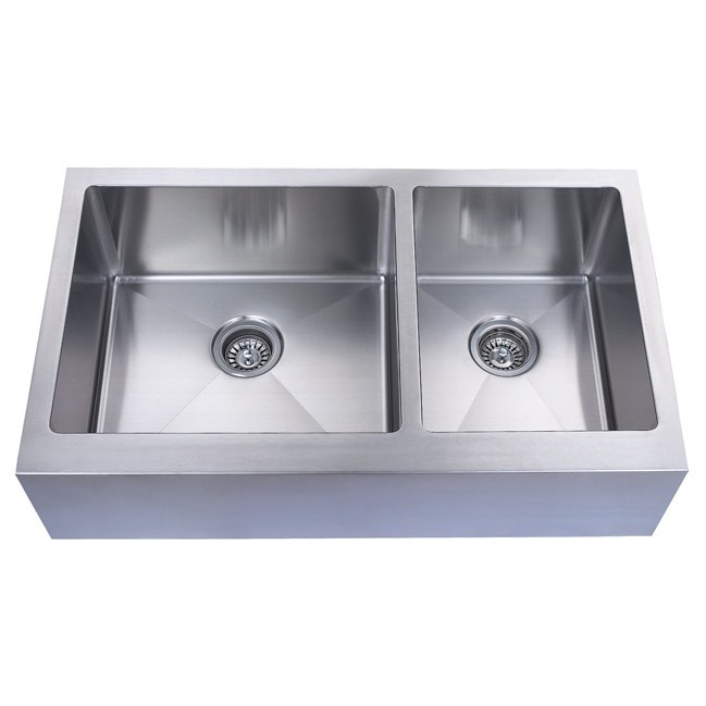 7 Inch Apron Front Sink : Home > 36 Inch Stainless Steel Flat Front Farm Apron 60/40 Double Bowl ...