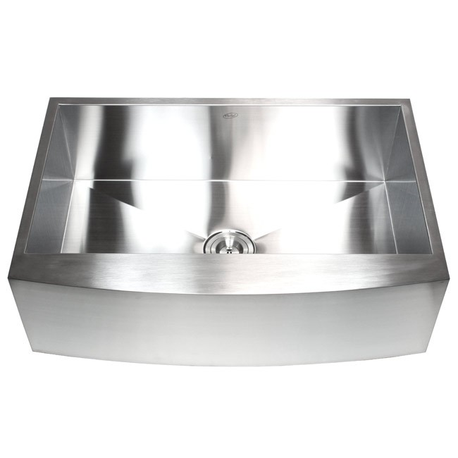 33 Inch Stainless Steel Single Bowl Curved Front Farmhouse Apron Kitchen Sink