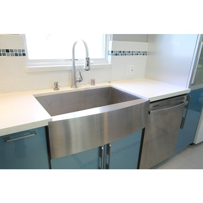 Display Gallery Item 6 33 Inch Stainless Steel Single Bowl Curved Front Farm A Kitchen Sink Zero Radius Design 7