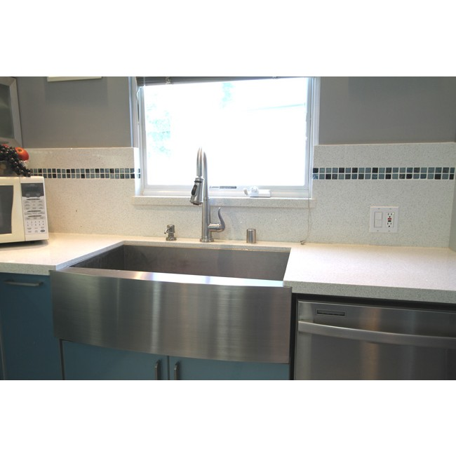 Display Gallery Item 8 · 33 Inch Stainless Steel Single Bowl Curved Front  Farm Apron Kitchen Sink Zero Radius Design  Display Gallery Item 9