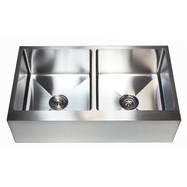 36 Inch Stainless Steel Flat Front Farm Apron 50 50 Double Bowl Kitchen Sink