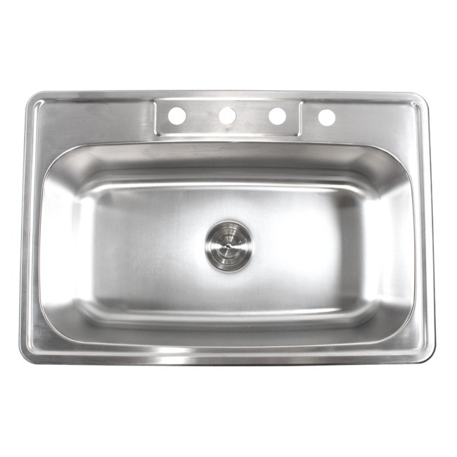 33 Inch Stainless Steel Top Mount Drop In Single Bowl Kitchen Sink   18  Gauge