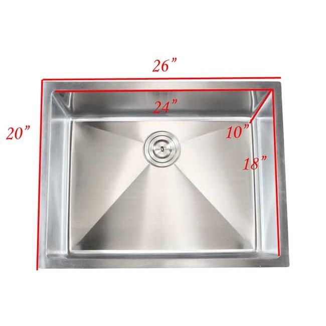 Ariel 26 inch stainless steel undermount single bowl kitchen sink display gallery item 7 workwithnaturefo