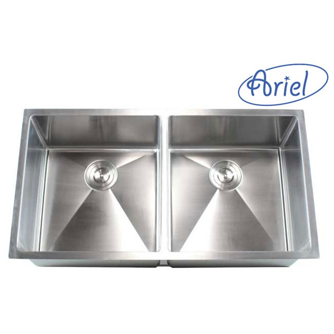 37 Inch Stainless Steel Undermount 50/50 Double Bowl Kitchen Sink 15mm  Radius Design