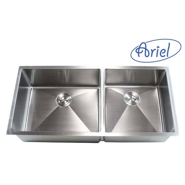 42 inch stainless steel undermount double bowl kitchen sink 15mm radius design   16 gauge ariel 42 inch stainless steel undermount double bowl kitchen sink      rh   emoderndecor com