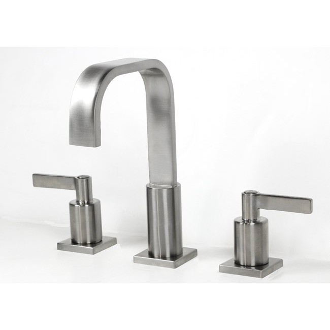 ... > Widespread Lead Free 3 Hole Bathroom Faucet Brushed Nickel Finish