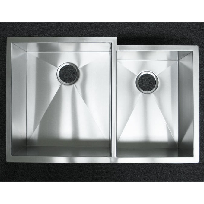 33 Inch Stainless Steel Undermount 60/40 Offset Double Bowl Kitchen ...
