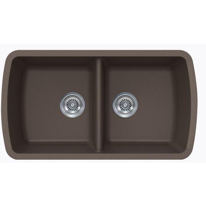 mocha quartz composite 50 50 double bowl undermount. Black Bedroom Furniture Sets. Home Design Ideas