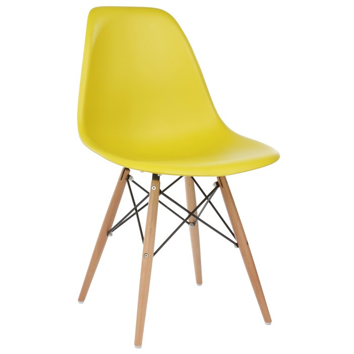 eames style dsw molded dark yellow plastic dining shell chair with