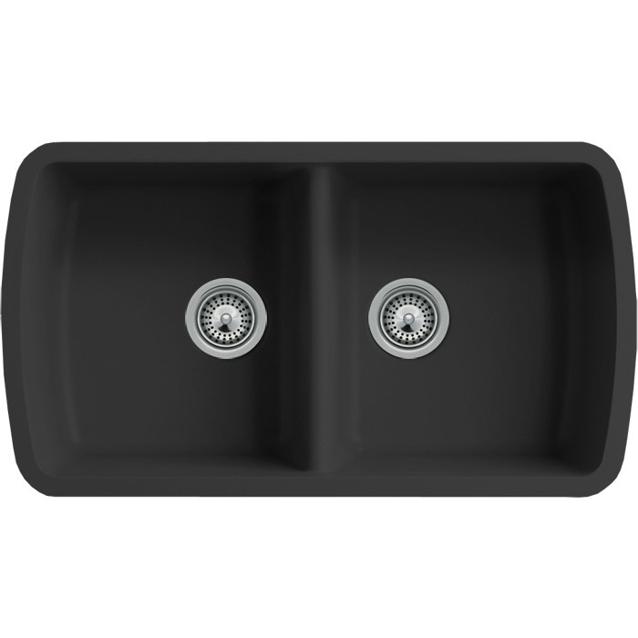 Black quartz composite 5050 double bowl undermount kitchen sink black quartz composite 5050 double bowl undermount kitchen sink 33 116 x workwithnaturefo