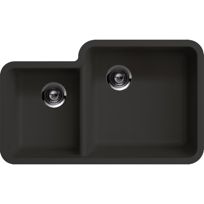 Cream Porcelain Undermount Kitchen Sinks With Double Black