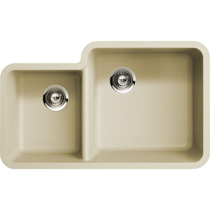 Beige Quartz posite 40 60 Double Bowl Undermount