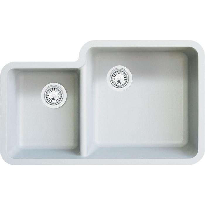 White Quartz Composite 40/60 Double Bowl Undermount Kitchen Sink - 33 ...