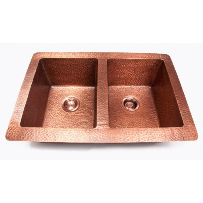 Drop In Copper Kitchen Sinks: Hand Hammered Finish Copper 50/50 Double Bowl Undermount
