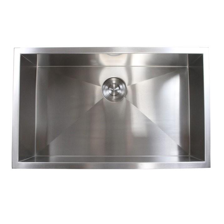 30 inch stainless steel undermount single bowl kitchen sink zero radius design 30 inch zero radius stainless steel undermount single bowl kitchen      rh   emoderndecor com