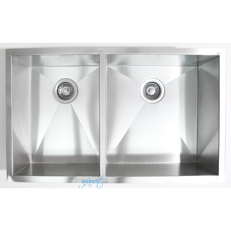 Contemporary Kitchen Designed With Undermount Sink And Led: 32 Inch Stainless Steel Undermount 40/60 Double Bowl