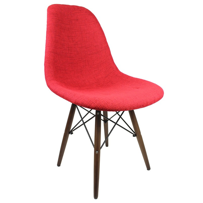Red fabric upholstered eames style accent chair with dark for Red and white upholstered chairs