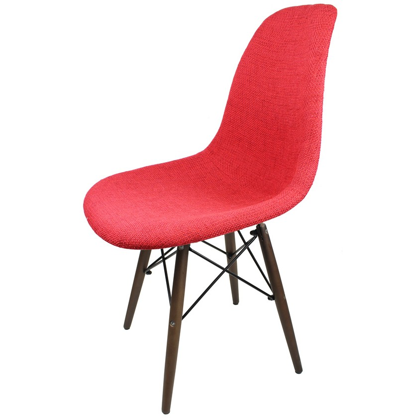 Upholstered eames style accent chair with dark walnut wood eiffel legs