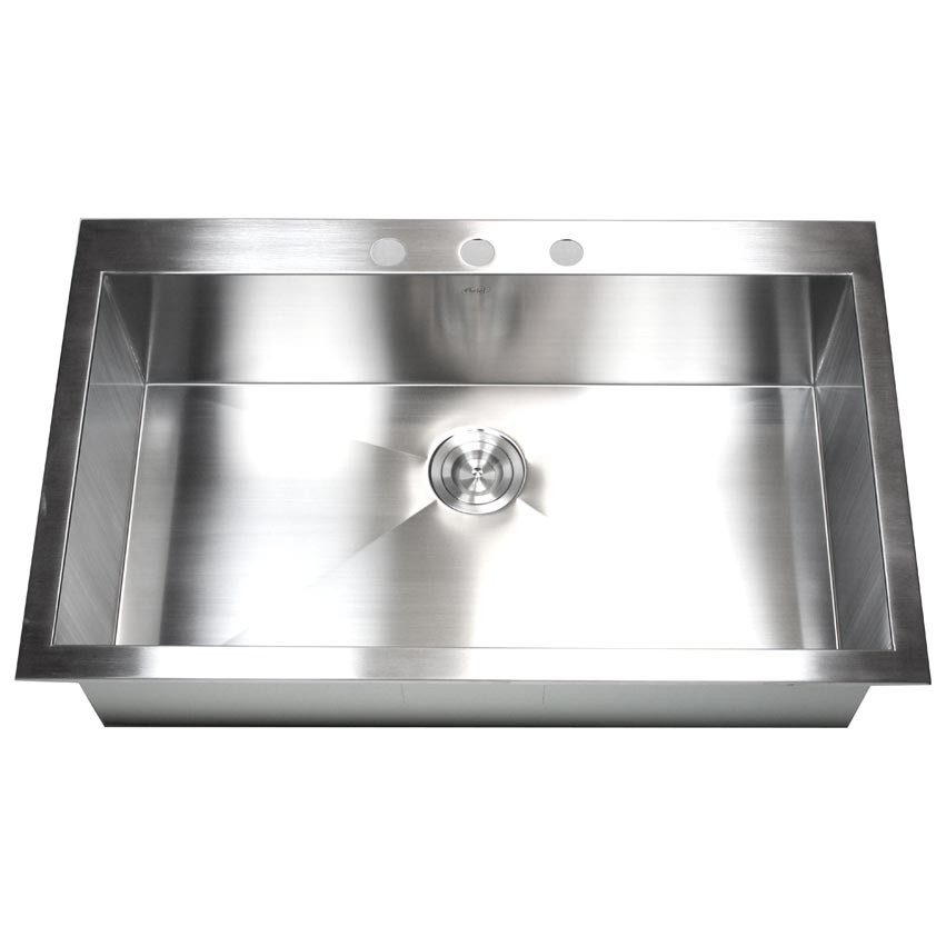 36 Inch Top Mount Drop In Stainless Steel Single Super Bowl Kitchen Sink Zero Radius Design