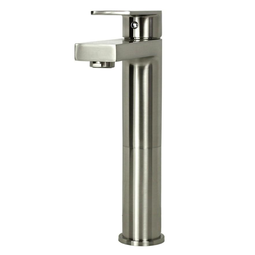 Adrian Brushed Nickel Bathroom Vessel Sink Single Hole Faucet