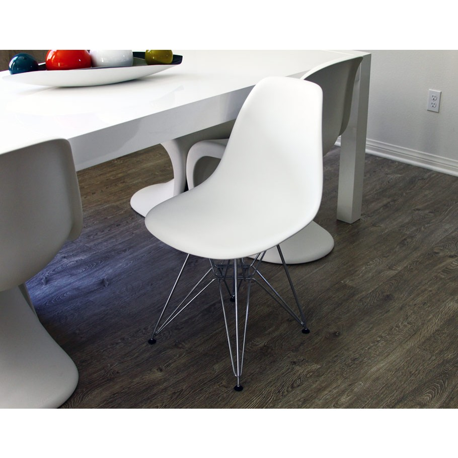 Home gt eames style dsr molded white plastic dining shell chair with