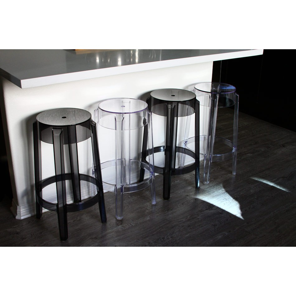 Set Of 2 Victoria Style Ghost Counter Stool Clear Color
