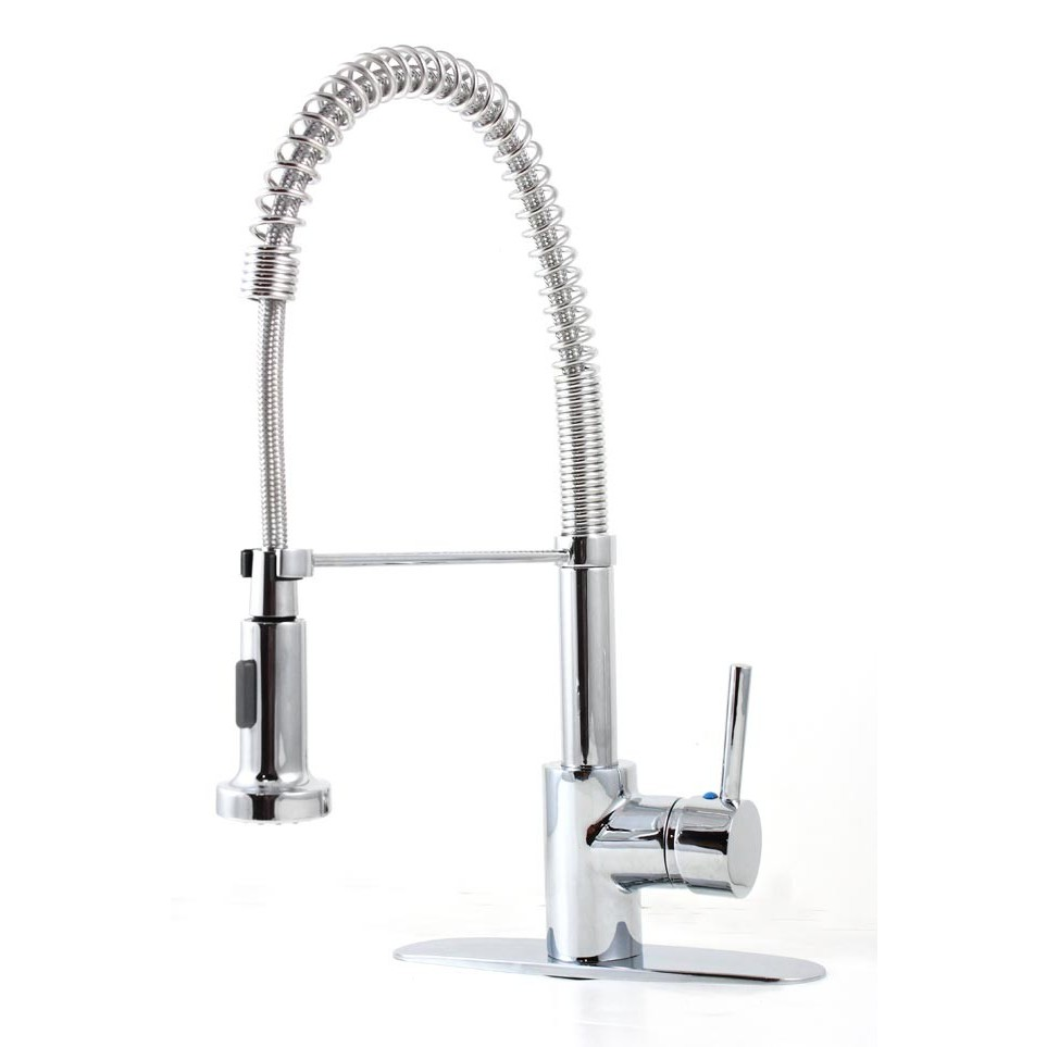 European Style Kitchen Faucet : European style lead free coil spring duel spout polish chrome kitchen faucet