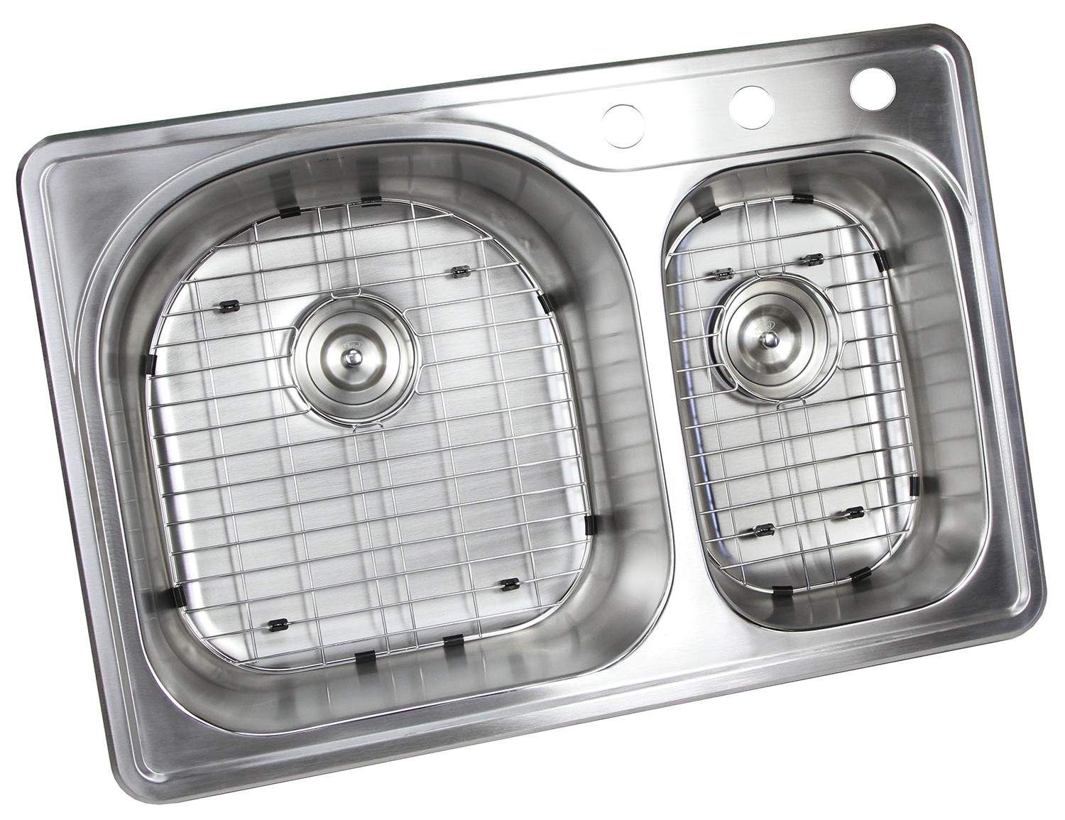 33 Inch Top-mount / Drop-in Stainless Steel 70/30 Double