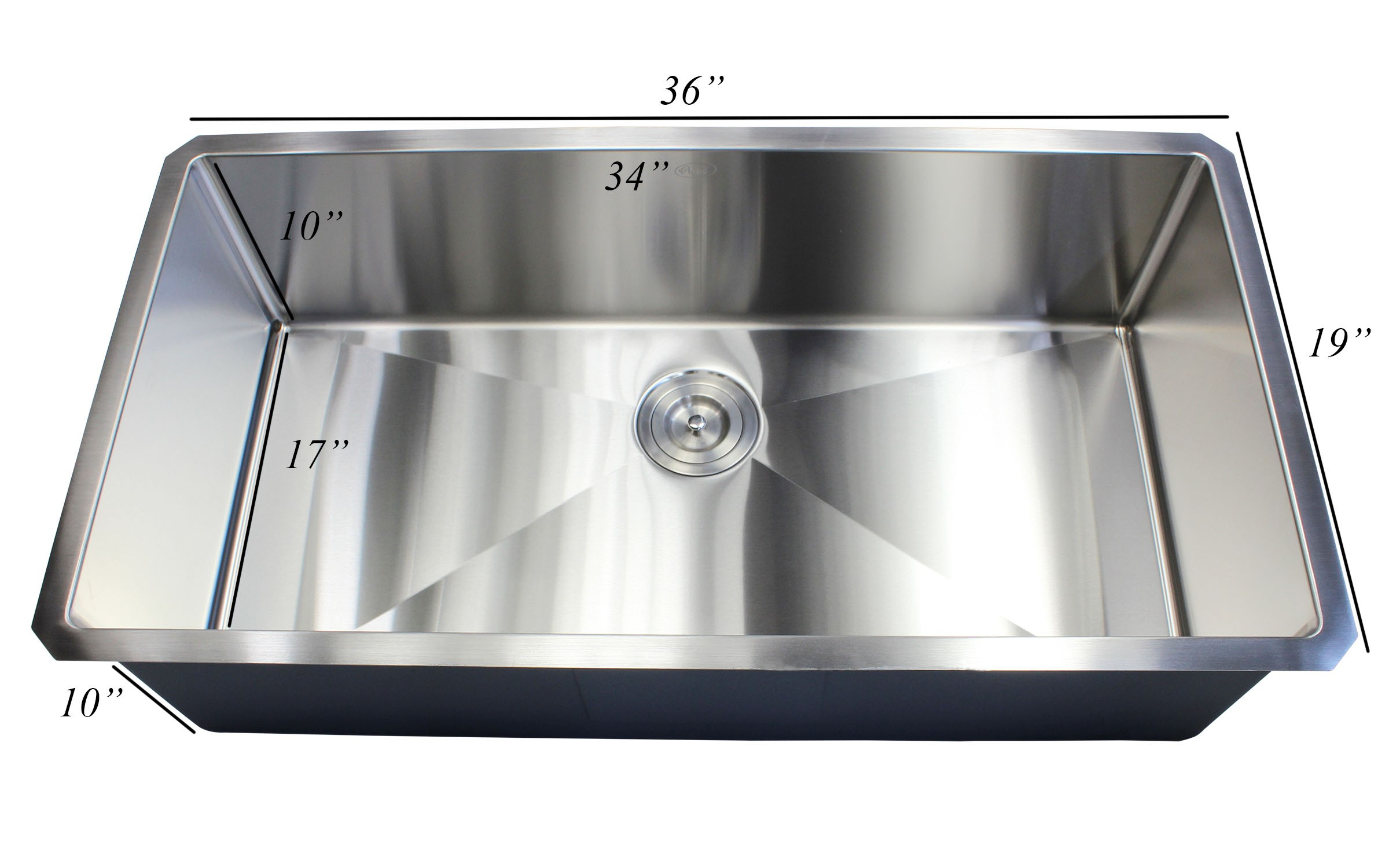 ariel 36 inch 16 gauge undermount single bowl stainless steel sink