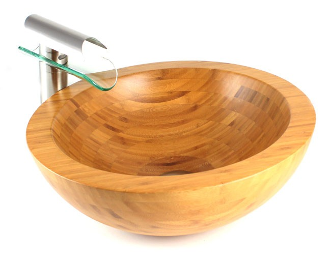 Countertop Height With Vessel Sink : Harmony - Bamboo Countertop Bathroom Lavatory Vessel Sink - 16-1/2 x 5 ...