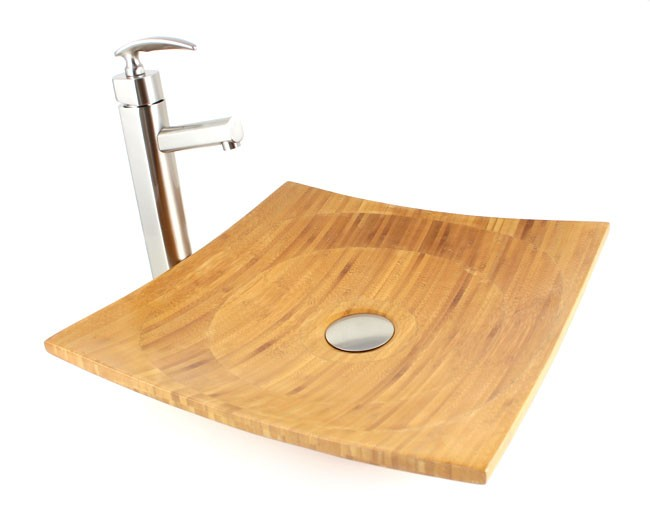 Countertop Height Vessel Sink : Virtue - Bamboo Countertop Bathroom Lavatory Vessel Sink - 16 x 16 x 4 ...