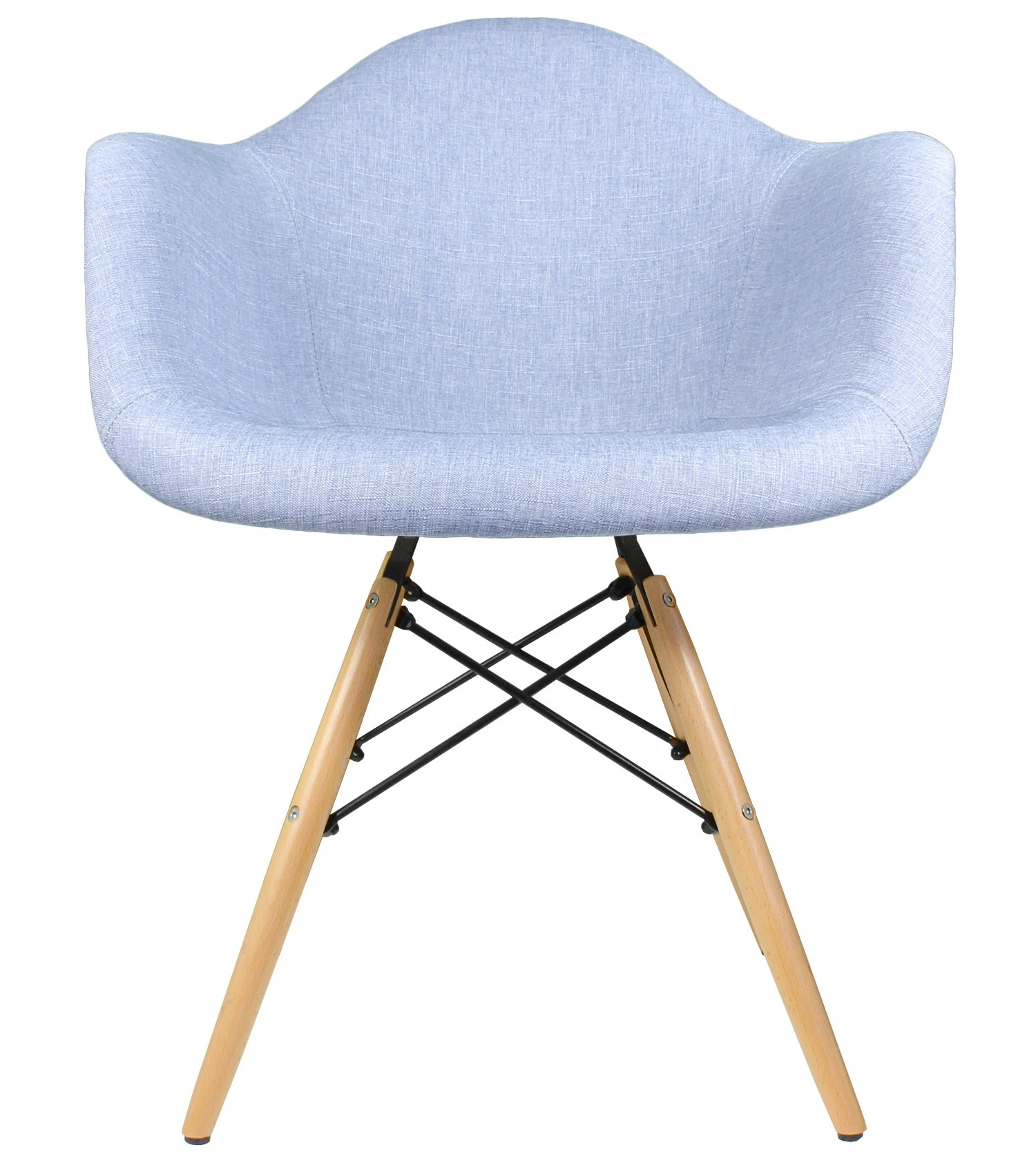 Blue Denim Fabric Upholstered Eames Style Accent Arm Chair