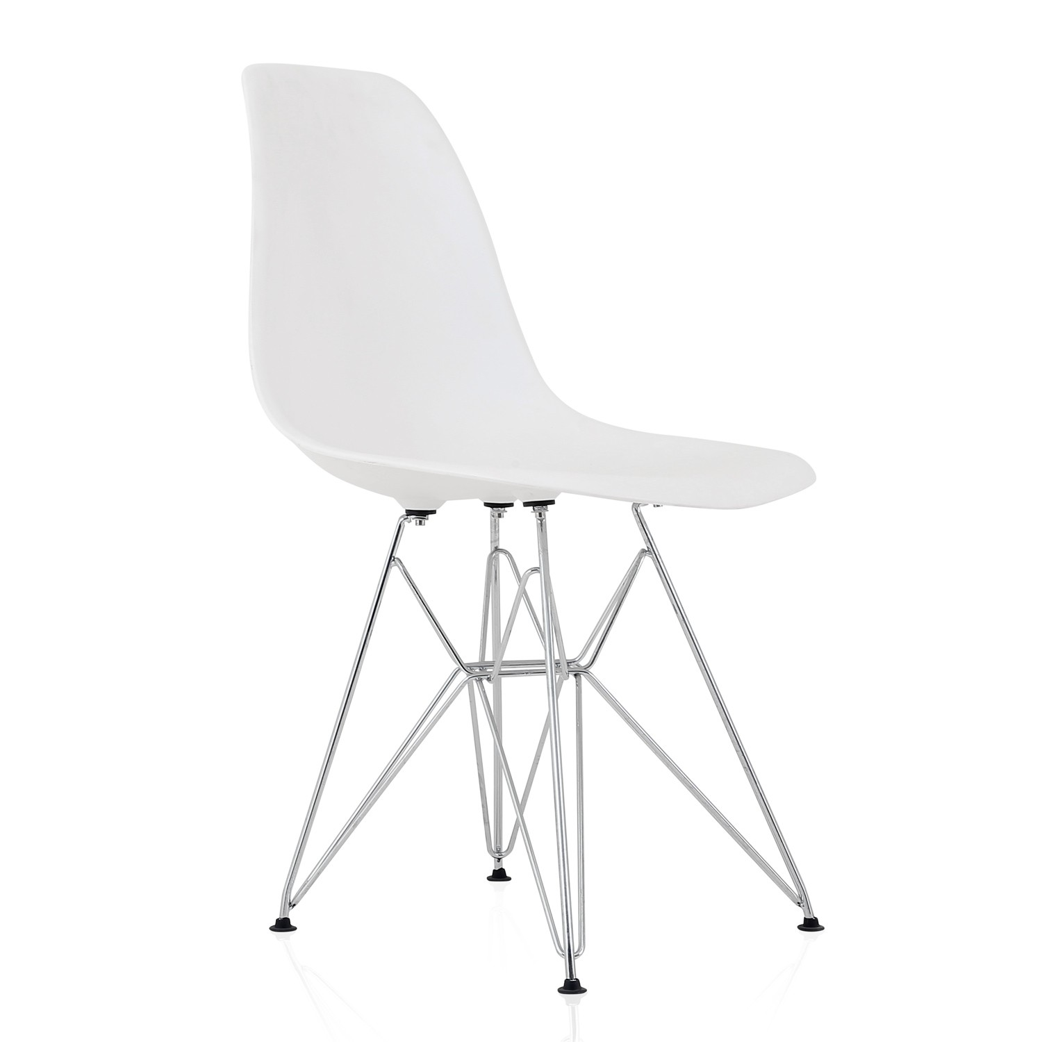 Eames Style DSR Molded White Plastic Dining Shell Chair with Steel