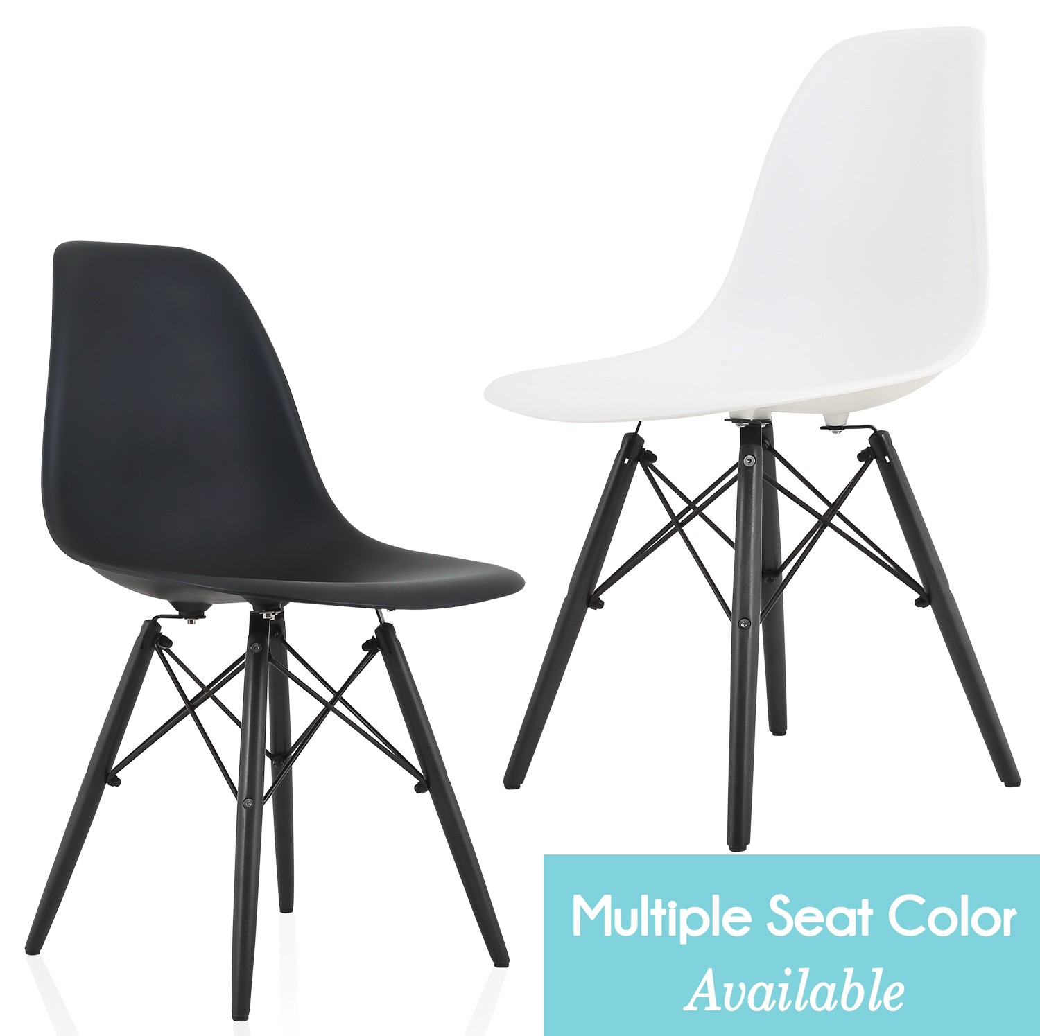 Eames Style DSW Molded Plastic Dining Side Chair with Black Wood