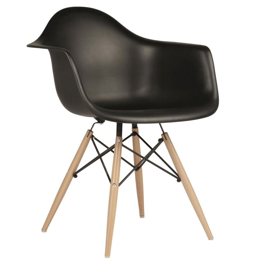 Set Of 2DAW Molded Black Plastic Dining Armchair With Wood Eiffel Legs