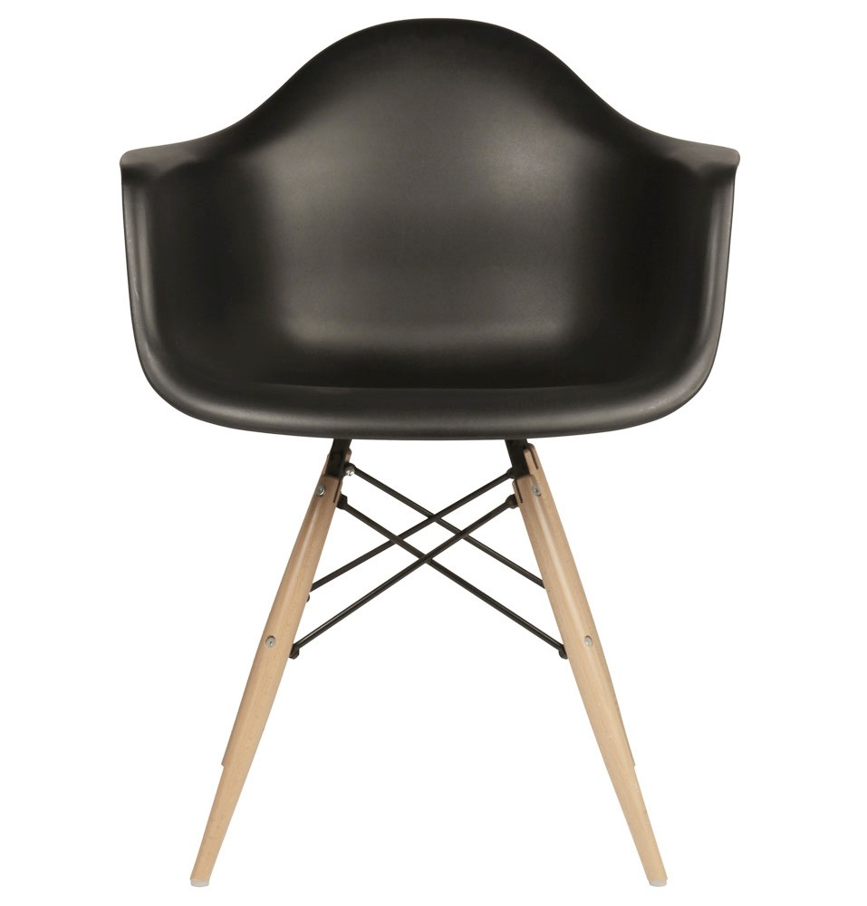 Eames style daw molded in black plastic dining armchair for Plastic chair eames replica