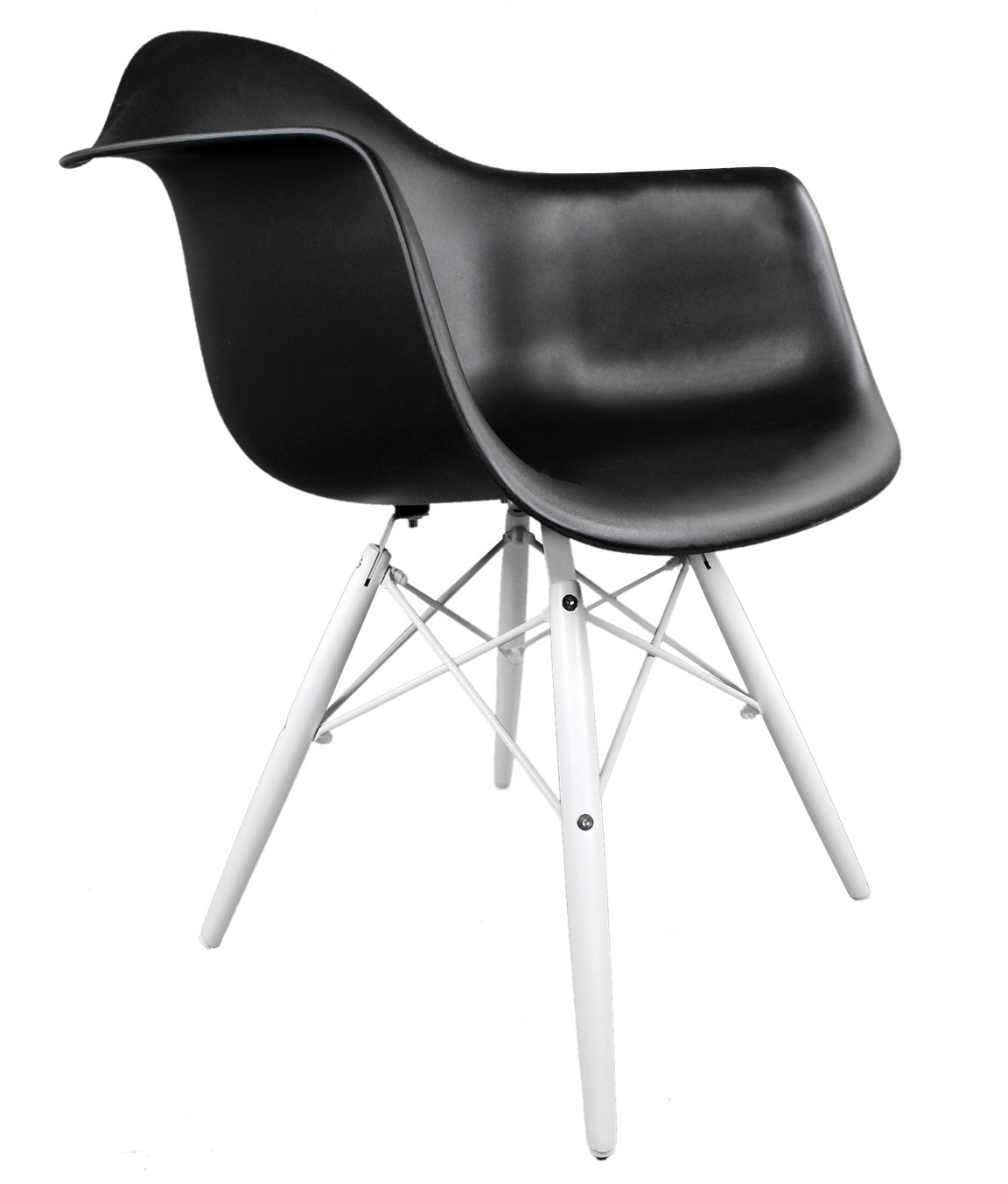 Superb img of  DAW Molded Black Plastic Accent Arm Chair with White Wood Eiffel Legs with #626269 color and 1152x1353 pixels